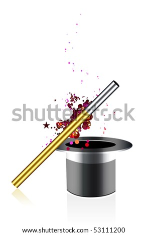 Beautiful vector magic background with wand and hat - stock vector