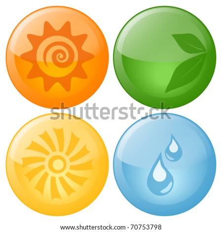 Beautiful Vector Nature Glassy Icons - stock vector