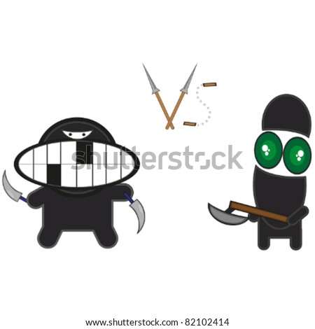 Beautiful vector ninja on a white background - stock vector