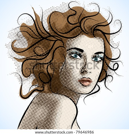 Beautiful Vector portrait of a girl. - stock vector
