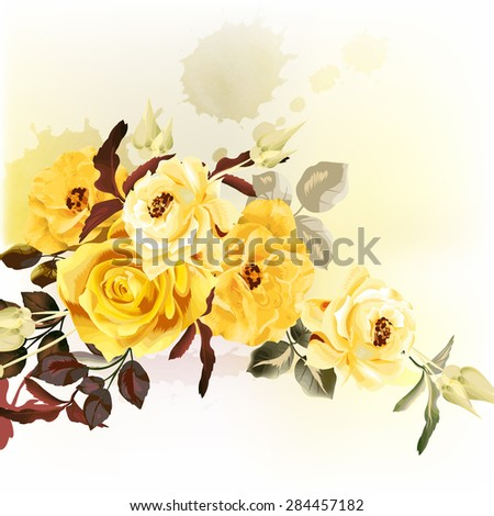 Beautiful vector roses in realistic watercolor style pastel beige tones - stock vector