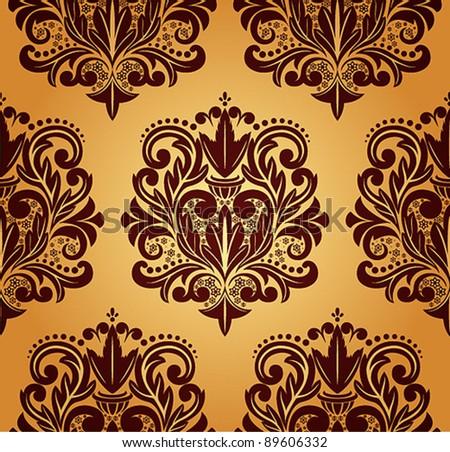 Beautiful vector seamless damask pattern. - stock vector
