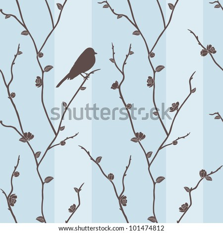 Beautiful vector seamless pattern with bird on sakura branches - stock vector