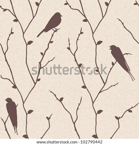 Beautiful vector seamless pattern with birds on sakura branches - stock vector