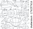 "Beautiful vector seamless pattern with mathematical figures, plots and formulas, ""handwritten on the copybook paper"". You can use any color of background - stock vector"