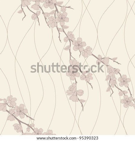 Beautiful vector seamless pattern with sakura flowers and lines, beige and brown - stock vector