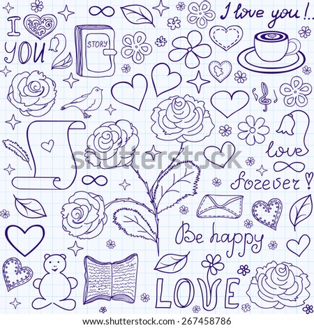 "Beautiful vector seamless pattern with words of love, books and hearts, ""handwritten on the copybook grid paper"""