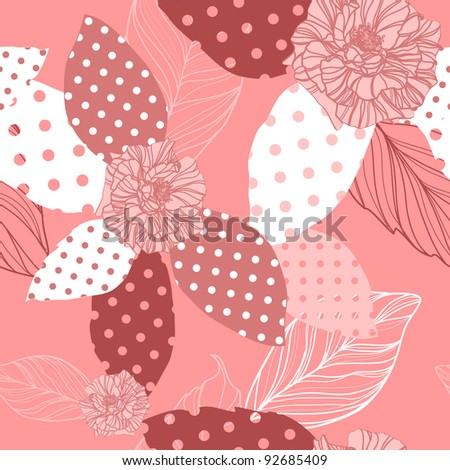 beautiful vector seamless pink pattern with roses - stock vector