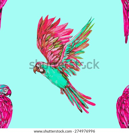 Beautiful vector seamless tropical floral pattern background with watercolor parrots, exotic fashionable print