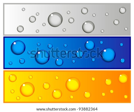 Beautiful vector set of colorful banners with water drops in blue, silver and yellow color - stock vector