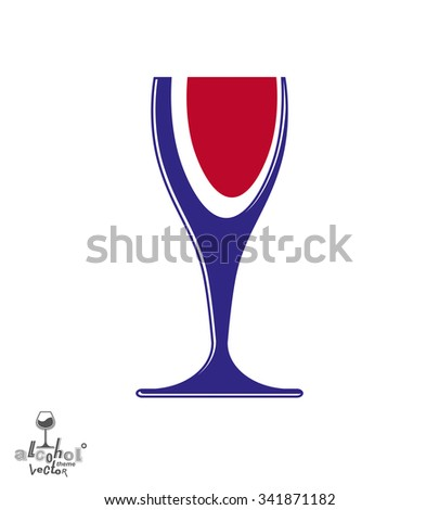 Beautiful vector sophisticated wine goblet, stylish alcohol theme illustration. Artistic wineglass, romantic rendezvous idea. Lifestyle graphic design element. - stock vector
