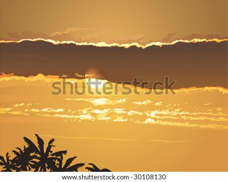 Beautiful vector sunset on tropical beach with palm silhouettes.