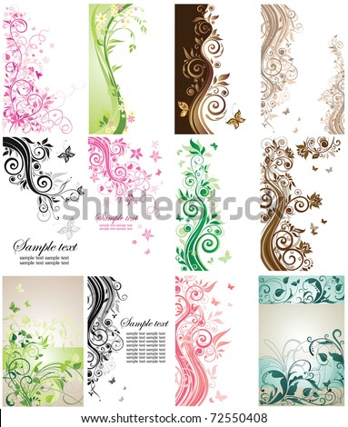 Beautiful vertical cards - stock vector
