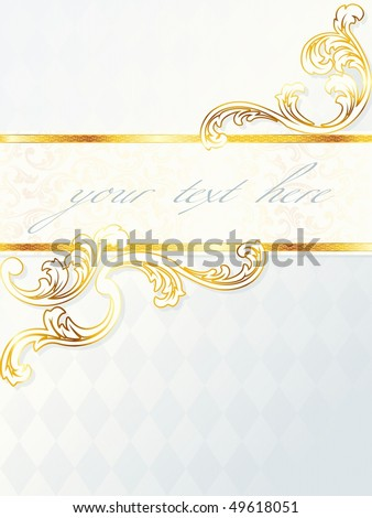 Beautiful vertical rococo wedding banner, includes transparencies (Eps10); JPG version also available - stock vector