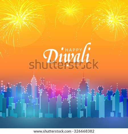 Beautiful view of a urban city decorated with lights on fireworks background for Indian Festival, Happy Diwali celebration. - stock vector