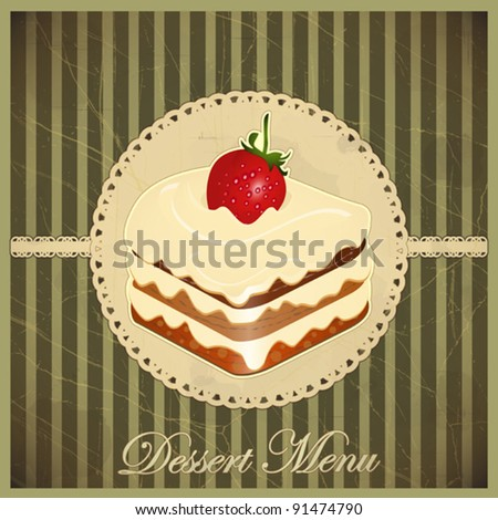 Beautiful vintage card with a strawberry and chocolate dessert - vector - stock vector