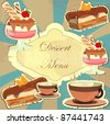Beautiful vintage card with a strawberry dessert - stock vector