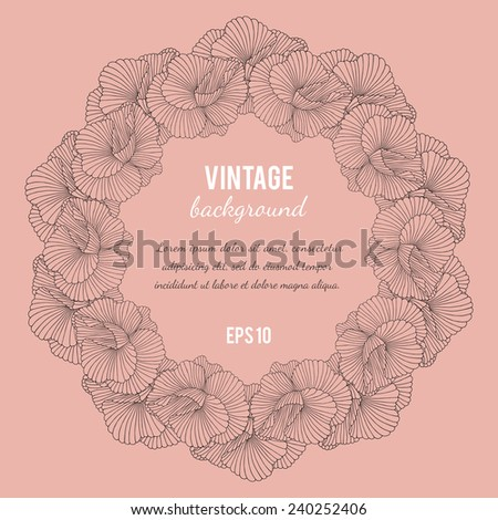 Beautiful vintage card with flowers. - stock vector