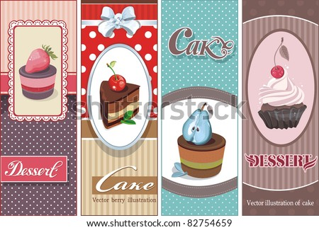 Beautiful Vintage card with sweet cupcake. Dessert set banners design invitation background. Vector happy birthday Illustration. - stock vector