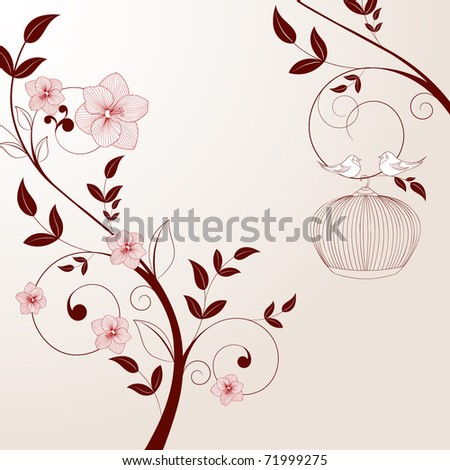 Beautiful vintage floral background with birds. - stock vector