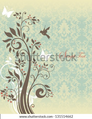 Beautiful vintage floral card - stock vector