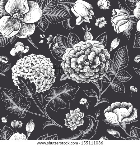Beautiful vintage floral seamless pattern. Garden roses, hydrangea and dog-rose flower on a black background. Vector illustration. Black and white color.  - stock vector