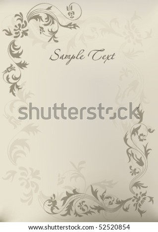 beautiful vintage floral template background. all detail are separated. It easy to regroup, recolor or do any changes. eps10 file with transparency - stock vector