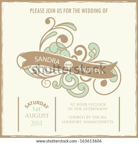 Beautiful vintage floral wedding invitation card. Vector illustration - stock vector