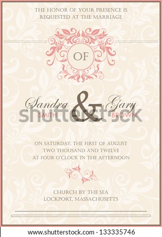 Beautiful vintage floral wedding invitation. Vector illustration