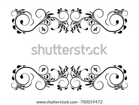 Beautiful Vintage Flower Pattern Black On A White Background Frame