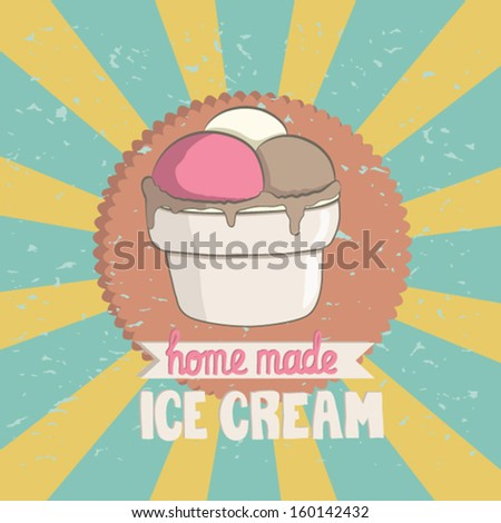 Beautiful vintage ice cream cup card. Perfect and tasty sweet gelato design. Cute fully editable  illustration drawn in vector by hand. - stock vector