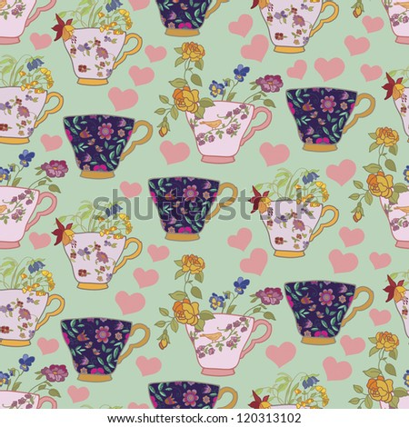 Beautiful vintage pattern with cups and flowers  background, wallpaper, fabric - stock vector