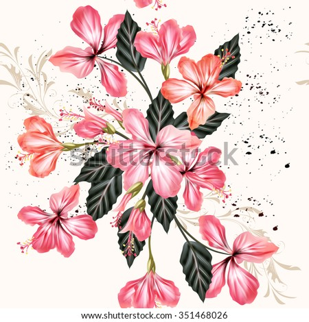 Beautiful vintage seamless background with pink hibiscus flowers in grunge style - stock vector