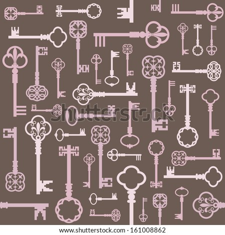 Beautiful vintage seamless background with retro keys silhouette in different shades of pastel pink on light brown. Can be used for wedding design or scrap booking.