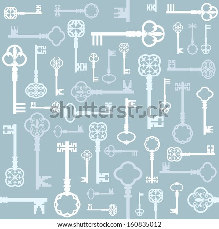 Beautiful vintage seamless background with retro keys silhouette in pastel blue colors. Can be used for wedding design or scrap booking.