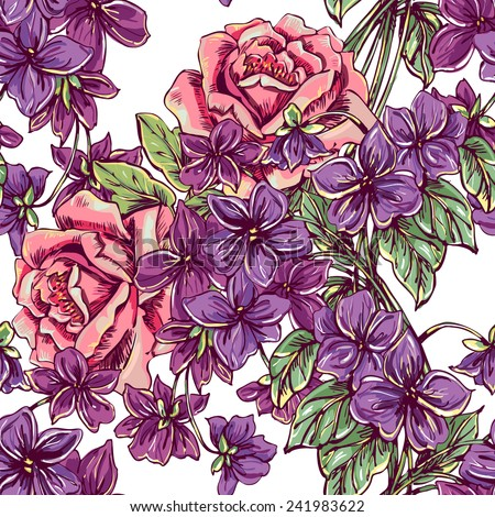 Beautiful vintage seamless floral pattern background. Bouquets of roses and violets - stock vector