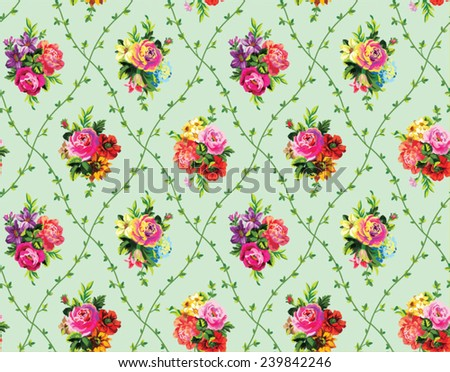 Beautiful vintage seamless vector pattern with bouquets of flowers on a green background  - stock vector