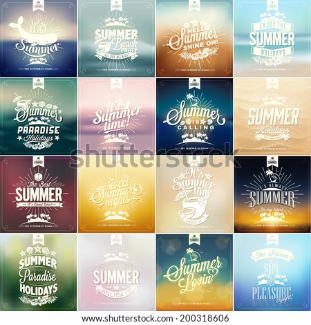 Beautiful Vintage Seaside View Poster. Vector background. With Typography - Set of calligraphic and typographic elements, frames, vintage labels. Ribbons, - all for Summer Holiday - stock vector