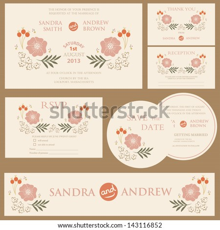 Beautiful vintage wedding invitation cards. - stock vector