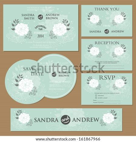 Beautiful vintage wedding invitation cards. - stock vector