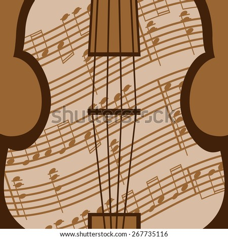 Beautiful viola with music sheet in the brown colour - stock vector
