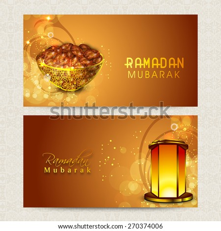 Beautiful website header or banner set decorated with dates and illuminated Arabic lantern for holy month of Muslim community, Ramadan Kareem celebration. - stock vector