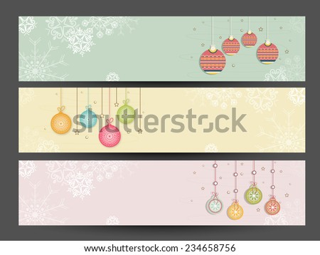 Beautiful website header or banner set decorated with hanging X-mas Balls for Merry Christmas and Happy New Year 2015 celebration. - stock vector