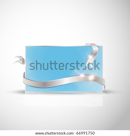 Beautiful wedding card - Silver ribbon around blank blue paper, where you should write your text - stock vector