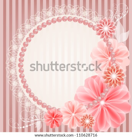 Beautiful wedding card with lace, flowers and beads - stock vector