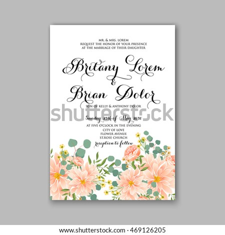 Beautiful wedding floral vector invitation sample stock vector 2018 beautiful wedding floral vector invitation sample card design frame template rose daisy stopboris Choice Image