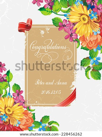 Beautiful Wedding invitation cards with floral elements - stock vector