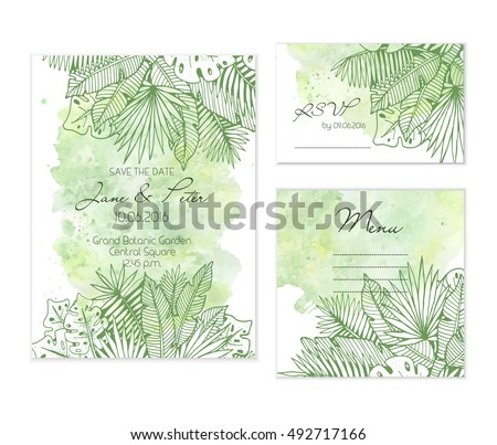 Beautiful wedding set with tropical palm leaves illustration on watercolor background. Bright green templates for creative wedding prints.