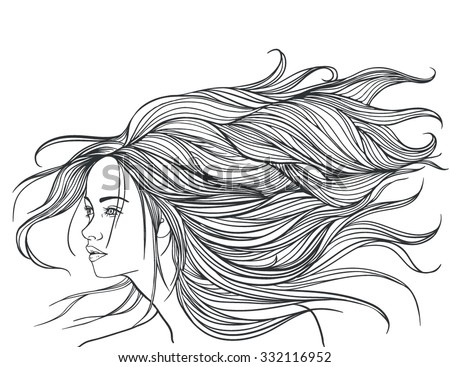Beautiful white girl with long hair. illustration. - stock vector