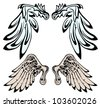 beautiful wings with unique style isolated on white - stock vector